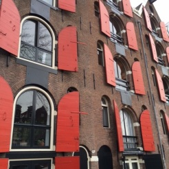 Colourful Amsterdam apartment windows
